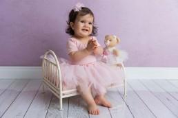 sessão fotográfica bebê 1 ano tema bailarina